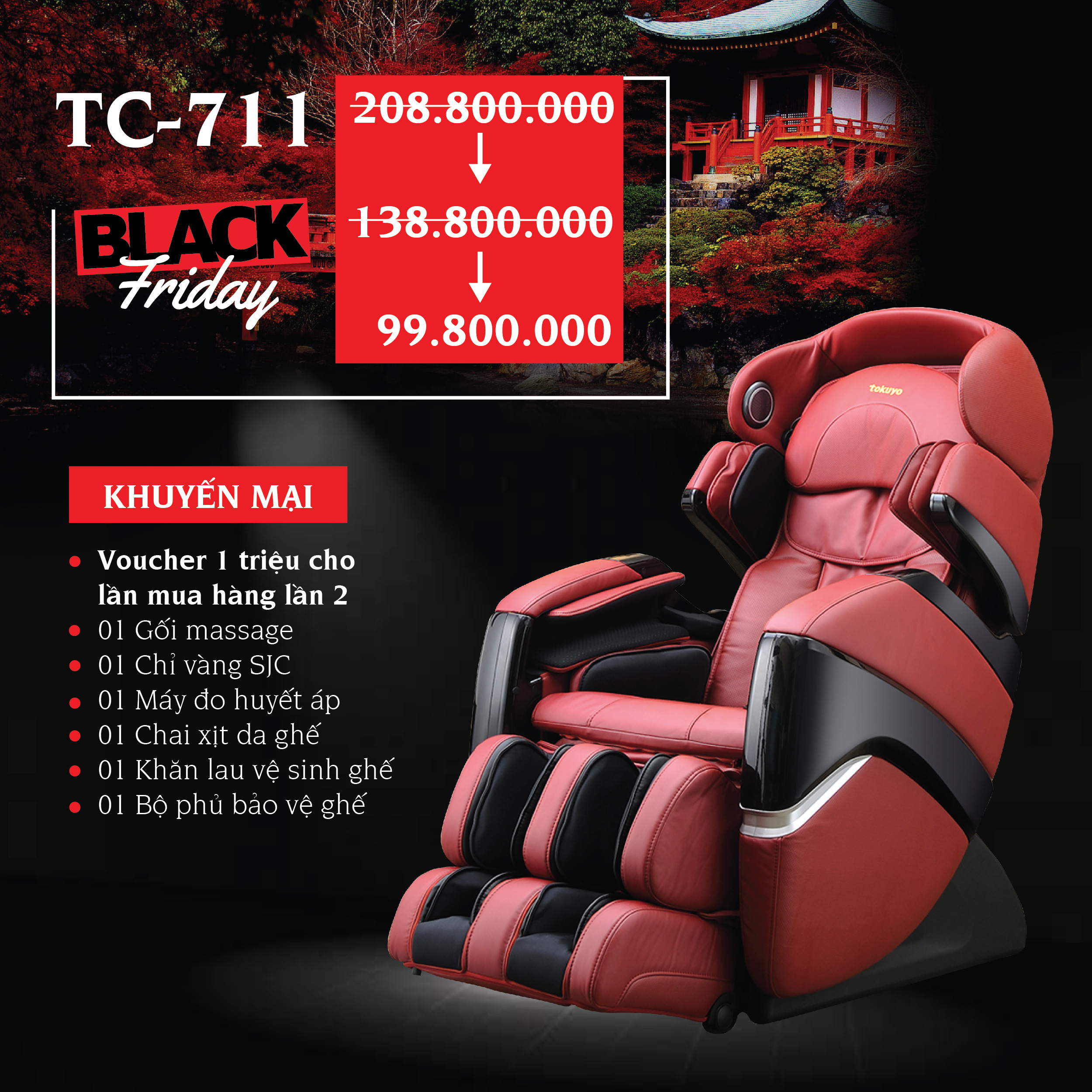 Ghế massage Toàn Thân 4D Plus Tokuyo TC-711 - Hot 2018