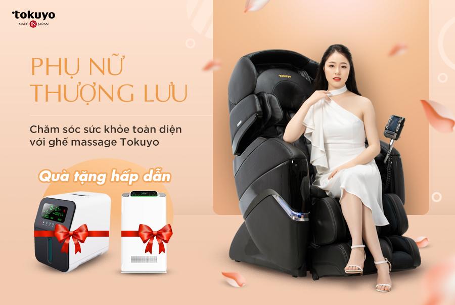 Phụ nữ thượng lưu, chăm sóc sức khỏe với ghế massage Tokuyo