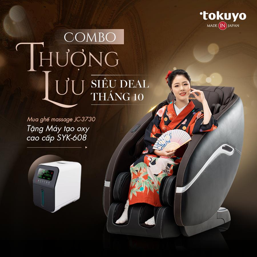 COMBO THƯỢNG LƯU-SIÊU DEAL T10: Mua ghế massage Tokuyo JC-3730 tặng Máy tạo oxy SYK-608